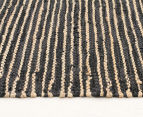 Handmade 300x80cm Leather & Jute Runner - Natural/Black 3