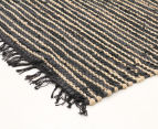 Handmade 300x80cm Leather & Jute Runner - Natural/Black 2