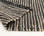 Handmade 300x80cm Leather & Jute Runner - Natural/Black 4