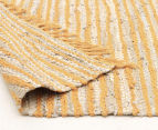 Handmade 300x80cm Leather & Jute Runner - Yellow 4