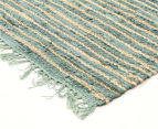 Handmade 270x180cm Leather & Jute Rug - Aqua 2