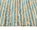 Handmade 270x180cm Leather & Jute Rug - Aqua 3