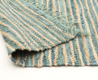Handmade 270x180cm Leather & Jute Rug - Aqua 4
