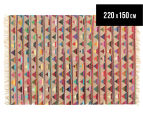 Bohemian 220x150cm Handmade Cotton & Jute Rug - Multi 1