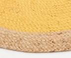 Contemporary 200cm Handmade Jute Rug - Yellow 3