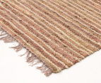 Handmade 270x180cm Leather & Jute Rug - Brown 2