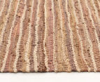 Handmade 270x180cm Leather & Jute Rug - Brown 3