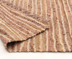 Handmade 320x230cm Leather & Jute Rug - Brown 4