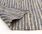 Handmade 220x150cm Leather & Jute Rug - Grey 4