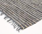 Handmade 270x180cm Leather & Jute Rug - Grey 2