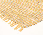 Handmade 270x180cm Leather & Jute Rug - Yellow 2