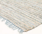 Handmade 320x230cm Leather & Jute Rug - Sea Blue 2