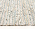 Handmade 320x230cm Leather & Jute Rug - Sea Blue 3