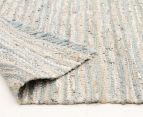 Handmade 320x230cm Leather & Jute Rug - Sea Blue 4