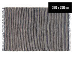 Handmade 320x230cm Leather & Jute Rug - Natural/Black 1