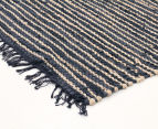 Handmade 320x230cm Leather & Jute Rug - Natural/Black 2