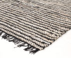 Handmade 400x80cm Leather & Jute Runner - Black/White 2