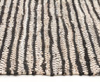 Handmade 400x80cm Leather & Jute Runner - Black/White 3
