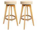 2 x Wooden Padded Fabric Swivel Bar Stools - Beige 1