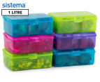 Sistema 1L Klipo Rectangular Coloured Container 6-Pack - Multi 1