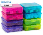 Sistema 510mL Klipo Square Coloured Container 8-Pack - Multi 1