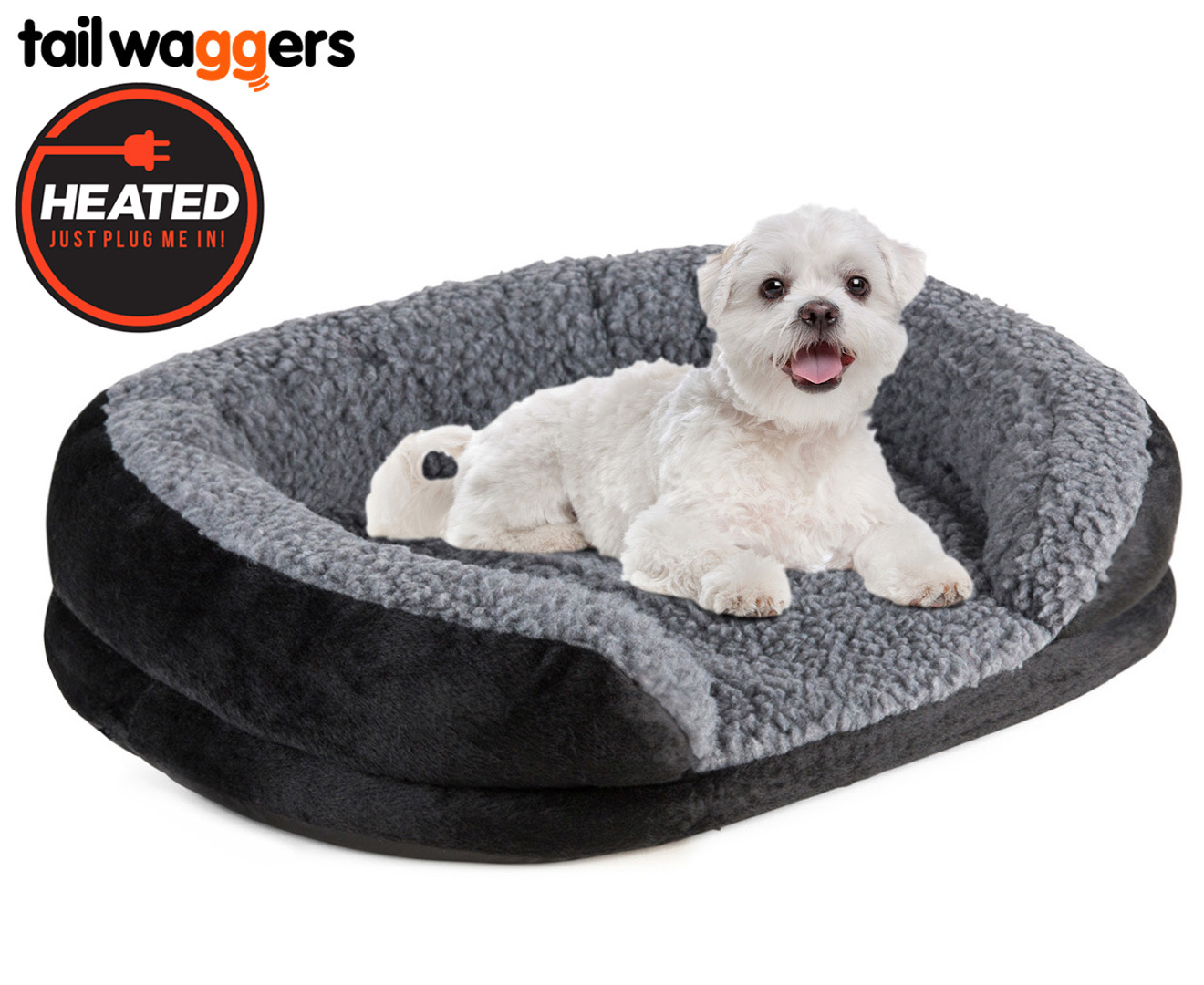 heated oval pet bed by tail waggers 50x40cm for small dogs - Heated Dog Bed