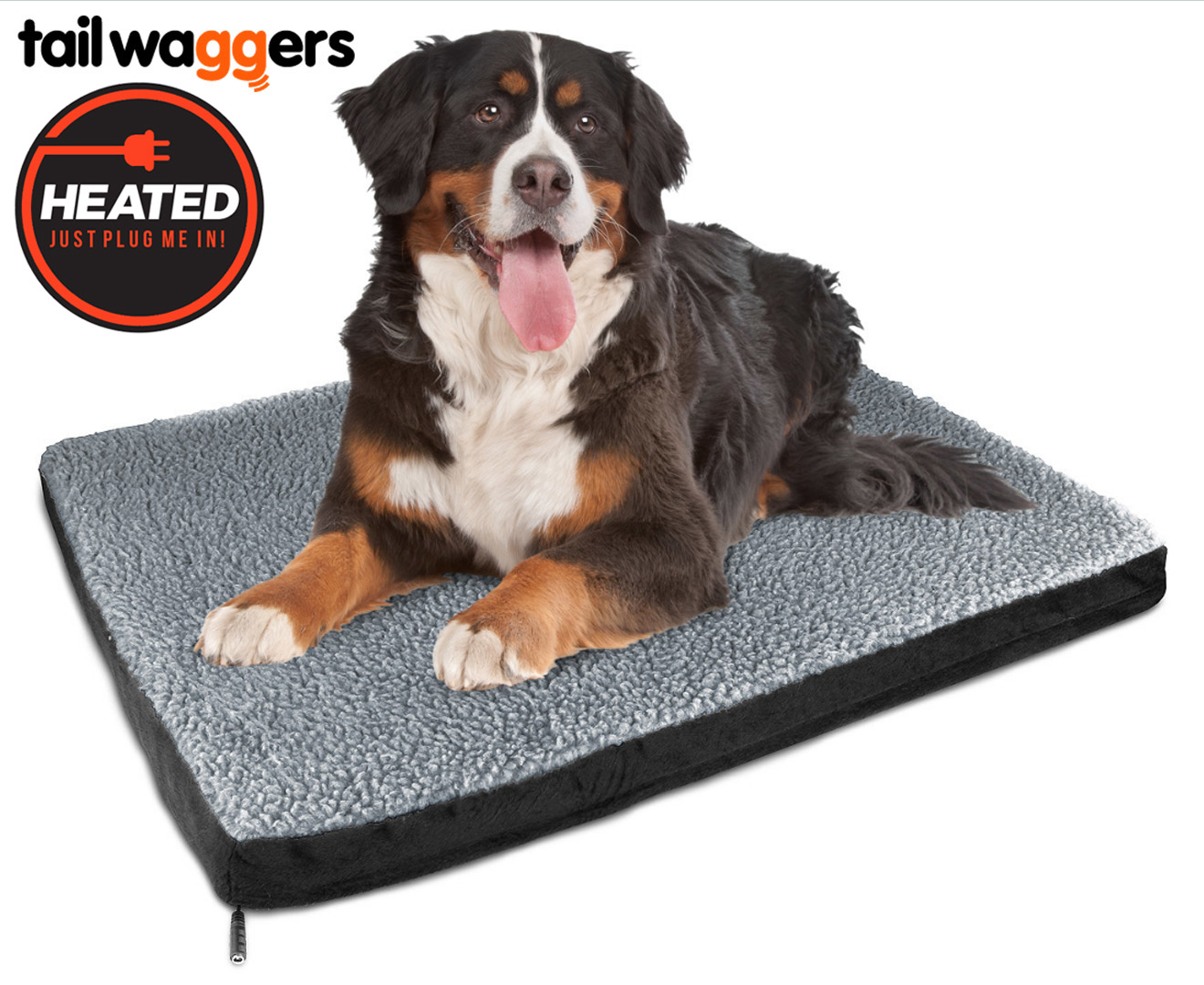 Excellent Heated Pet Bed by Tail Waggers - 83x109cm For Large Dogs | Catch  NY73