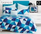 Bianca Cruze Queen Bed Quilt Cover Set - Blue 1