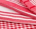 RANS Milan Stripe & Check Tea Towels 5-Pack - Red 3