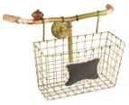 Vintage 20cm Handlebar Basket - Distressed Green 1