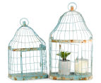 Set of 2 Nested Wall Shelf Aged Birdcages - Distressed Blue 2