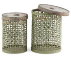 Set of 2 Nested Punched Aged Metal Round Tins - Antique Green 1