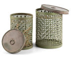 Set of 2 Nested Punched Aged Metal Round Tins - Antique Green 2