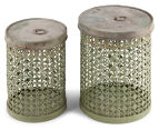 Set of 2 Nested Punched Aged Metal Round Tins - Antique Green 3