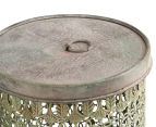 Set of 2 Nested Punched Aged Metal Round Tins - Antique Green 4