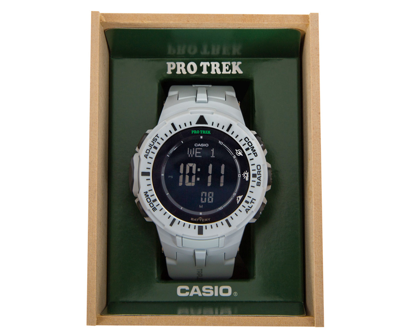 Casio PRO TREK PRG-300-7DR 47mm Triple Sensor Version 3 Watch - White  42d957ec3