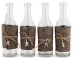 Set Of 4 Decorative 21cm Bottles w/Felt Leather Tie - Brown 1