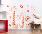 Three Orange Giraffes & Flowers Decal/Sticker 1