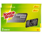 2 x 3M Scotch-Brite Stainless Steel Scrubbing Pads 2pk 1