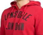 Lonsdale Men's Aiden Zip Hoodie - Deep Red/Black 6