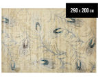 Urban Floor Art Peacock Feathers 290x200cm Jute Rug - Cream 1