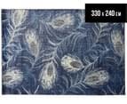 Urban Floor Art Peacock Feathers 330x240cm Jute Rug - Navy 1