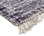 Handwoven Viscose & Cotton Flatweave 225x155cm Rug - Navy 2