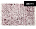 Handwoven Viscose & Cotton Flatweave 280x190cm Rug - Rose 1