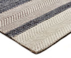 Handwoven Cotton & Wool Flatweave 280x190cm Rug - Blue 2