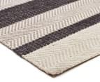 Handwoven Cotton & Wool Flatweave 225x155cm Rug - Charcoal 2