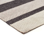 Handwoven Cotton & Wool Flatweave 280x190cm Rug - Charcoal 2