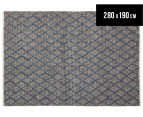 Handwoven Viscose & Wool 280x190cm Rug - Blue 1