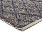 Handwoven Viscose & Wool 280x190cm Rug - Blue 2