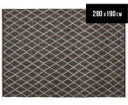 Handwoven Viscose & Wool 280x190cm Rug - Charcoal 1